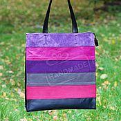 Сумки и аксессуары handmade. Livemaster - original item Bag leather and suede large rectangular rainbow Fuchsia and purple. Handmade.