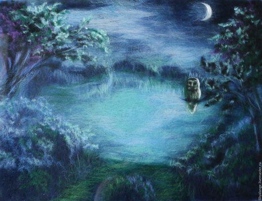 """Пейзаж ручной работы. Ярмарка Мастеров - ручная работа. Купить картина из шерсти """" Ночное озеро"""". Handmade. Синий, пейзаж"""