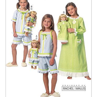 Материалы для творчества ручной работы. Ярмарка Мастеров - ручная работа B6125 Выкройки пижамы ночной рубашки девочки + куклы 45 см ПРОСТО. Handmade.