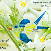 """Цветы и флористика ручной работы. Ярмарка Мастеров - ручная работа Декор для цветов """"Ласточка"""", стекло, фьюзинг. Handmade."""