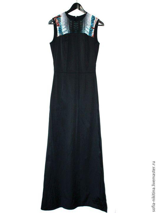 Платья ручной работы. Ярмарка Мастеров - ручная работа. Купить Платье с шелком. Handmade. Черный, платье, платьевпол, вечернееплатье, принт