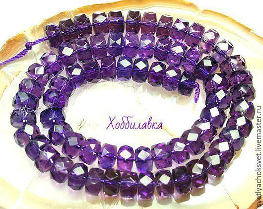 Аметист Цилиндр с огранкойэ. Яркий, насыщенный фиолетовый цвет. размер 6x 9 мм