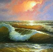 """Картины и панно ручной работы. Ярмарка Мастеров - ручная работа Картина маслом """"Морская волна"""". Handmade."""