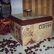 Для дома и интерьера ручной работы. Ярмарка Мастеров - ручная работа Короб декупаж для кухни коричневый деревянный Кофейный. Handmade.