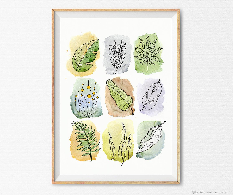Картина Тропические листья Акварель, Картины, Томск,  Фото №1