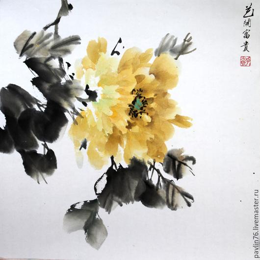 Картины цветов ручной работы. Ярмарка Мастеров - ручная работа. Купить Желтый пион. Handmade. Желтый, пион, пионы