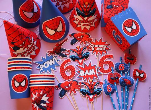 """Праздничная атрибутика ручной работы. Ярмарка Мастеров - ручная работа. Купить Оформление праздника (Кенди бар)  """" Человек-паук """". Handmade."""