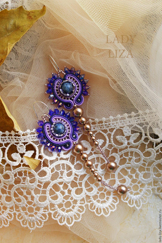 Soutache earrings, purple earrings, soutache jewelry, soutache jewelry set, buy earrings, buy handmade necklace, buy jewelry, soutache jewelry, buy beaded jewelry