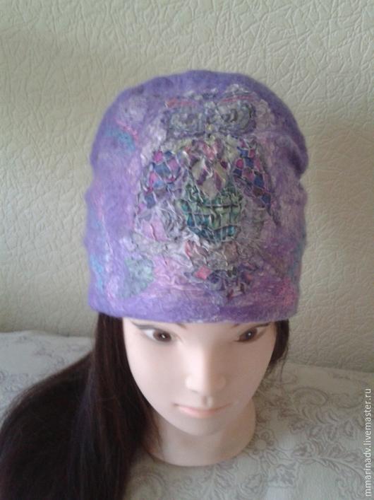 Валяная шапка `Совушка`, шерсть 100%, шёлк батик. Авторская работа Марины Маховской. Головные уборы ручной работы.