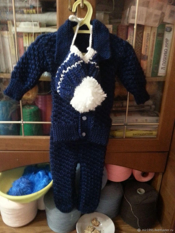 Костюмы ручной работы. Ярмарка Мастеров - ручная работа. Купить Мягкий теплый костюм на мальчика. Handmade. Синий, васильковый цвет