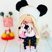 Мягкие игрушки ручной работы. Ярмарка Мастеров - ручная работа Текстильная интерьерная кукла с мышкой Минни Маус. Handmade.