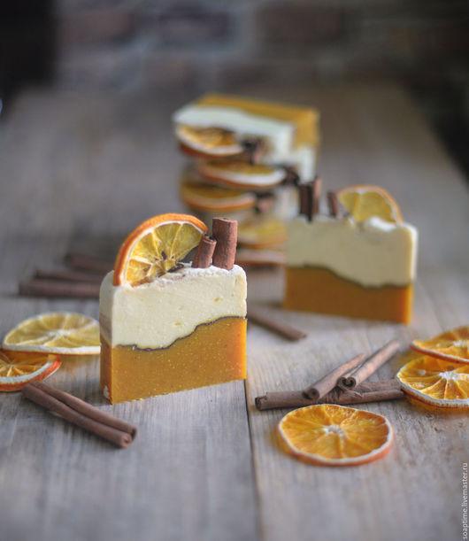 """Мыло ручной работы. Ярмарка Мастеров - ручная работа. Купить """"Корица и апельсин"""" натуральное мыло с нуля. Handmade. Оранжевый"""