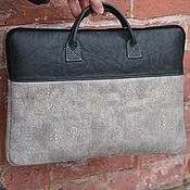 Сумки и аксессуары handmade. Livemaster - original item Case notebook and document bag in suede and leather Grey. Handmade.