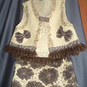 """Одежда ручной работы. Ярмарка Мастеров - ручная работа Валяный костюм """"Зимние цветы..""""(жилет+юбка). Handmade."""