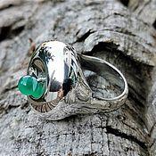 Rings handmade. Livemaster - original item Large ring with chrysoprase 925 Silver. Handmade.