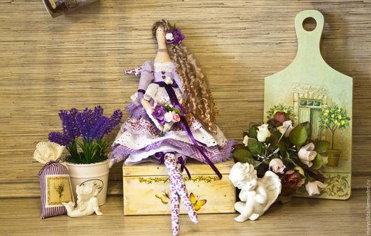 Куклы Тильды ручной работы. Ярмарка Мастеров - ручная работа. Купить Кукла тильда ангел лавандовый фея. Handmade. Сиреневый