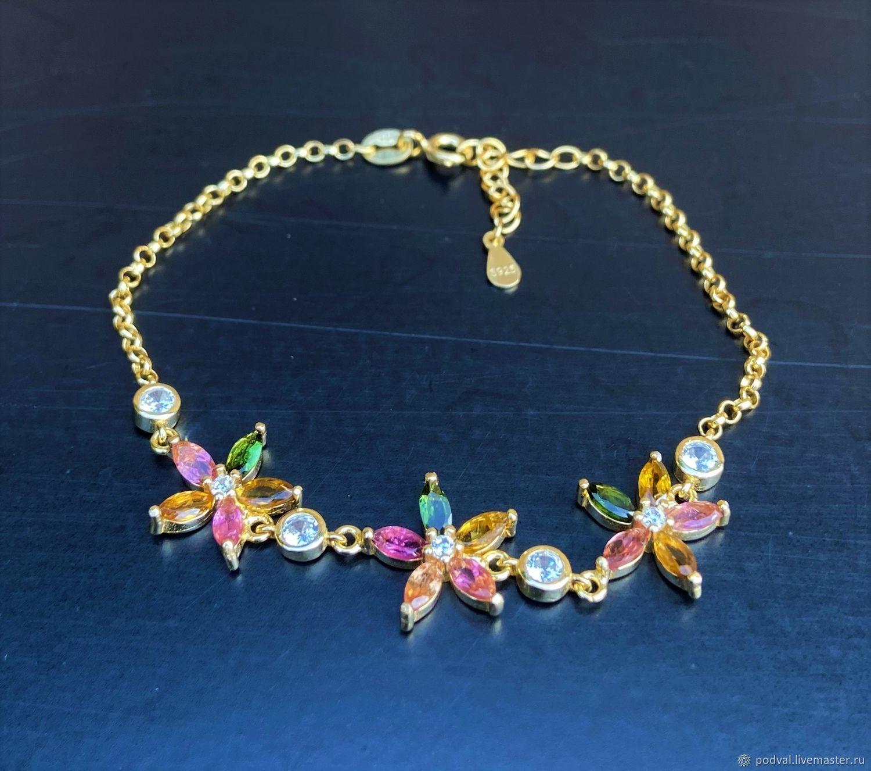 Silver bracelet with natural tourmalines, Hard bracelet, Korolev,  Фото №1
