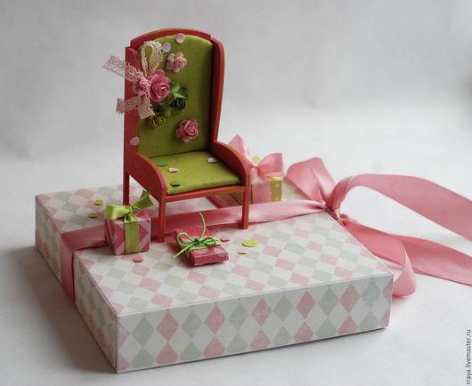 """Открытки для женщин, ручной работы. Ярмарка Мастеров - ручная работа. Купить Объемная открытка  """"Кресло"""". Handmade. Бледно-розовый, миниатюра"""