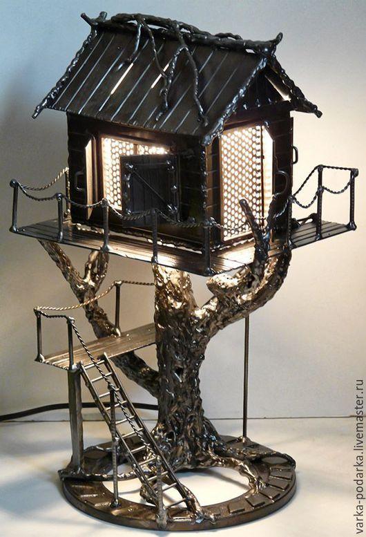 Освещение ручной работы. Ярмарка Мастеров - ручная работа. Купить Домик на дереве. Handmade. Светильник, ночник