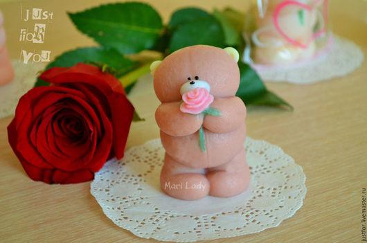 Мыло ручной работы. Ярмарка Мастеров - ручная работа. Купить Мишка с розой. Handmade. Бежевый, мыло ручной работы