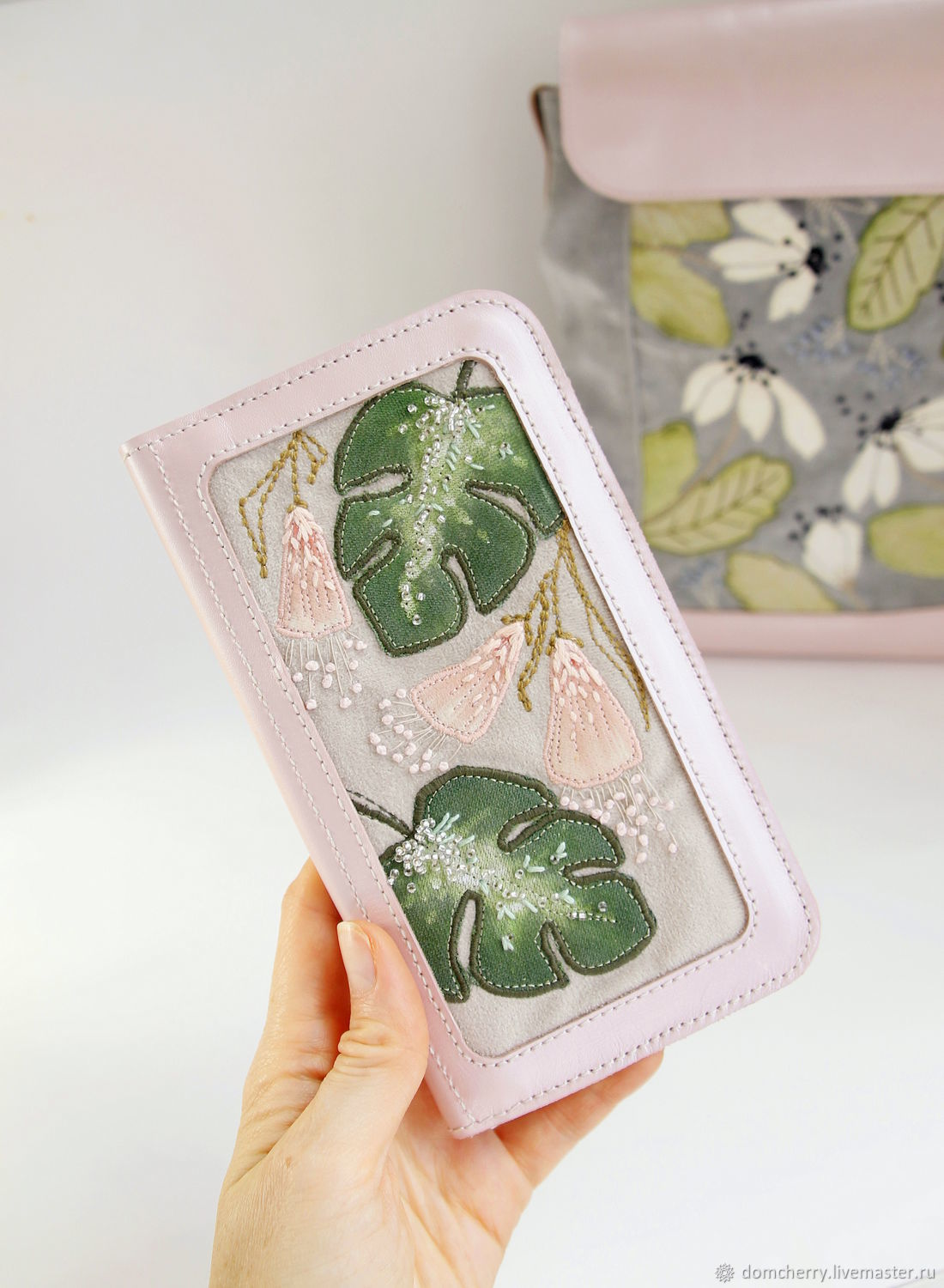 Women leather wallet embroidered with a pattern. Tropical flowers, Wallets, Pskov,  Фото №1