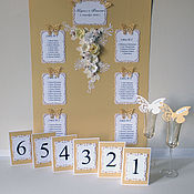 Свадебный салон ручной работы. Ярмарка Мастеров - ручная работа План рассадки гостей в золотой гамме. Handmade.