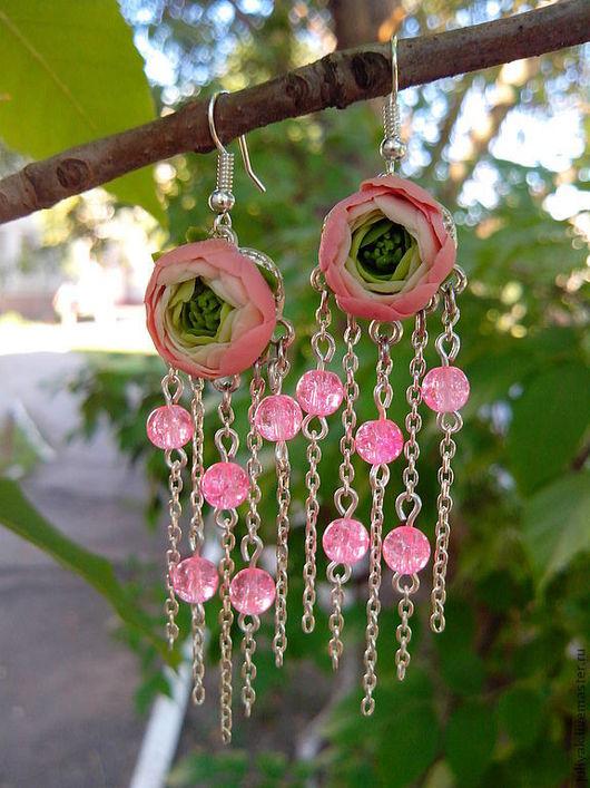 """Серьги ручной работы. Ярмарка Мастеров - ручная работа. Купить Серьги """"Розовые ранункулюсы"""". Handmade. Розовый, полимерная глина, серьги"""
