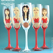 Свадебный салон handmade. Livemaster - original item Bachelorette party, champagne glasses, in the style of the Coral. Handmade.