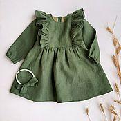 Работы для детей, handmade. Livemaster - original item La linaza vestido para las niñas. Handmade.