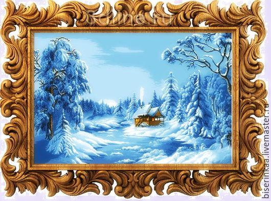 Схема для вышивания бисером `Синяя зима` (Цыганова). Полная зашивка чешским бисером