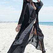 Одежда handmade. Livemaster - original item Black, stylish chiffon pareo, Maxi length - KA0602CH. Handmade.