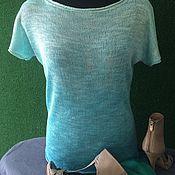 Одежда ручной работы. Ярмарка Мастеров - ручная работа Бирюзовый шелковый топ. Handmade.