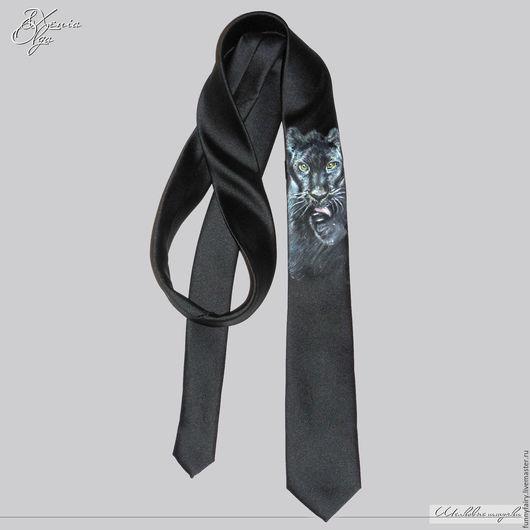 Галстук с ручной росписью Черная пантера tie handmade russia Шалунья Петербург купить зонты галстуки шелковые шарфы платки палантины