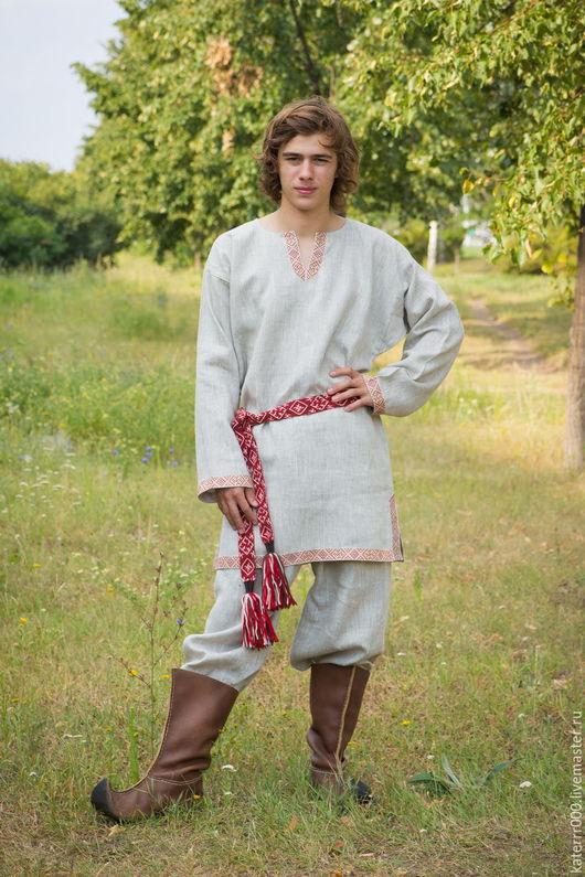 """Одежда ручной работы. Ярмарка Мастеров - ручная работа. Купить Рубаха """"Одолень-трава""""  небеленый лен. Handmade. Бежевый"""