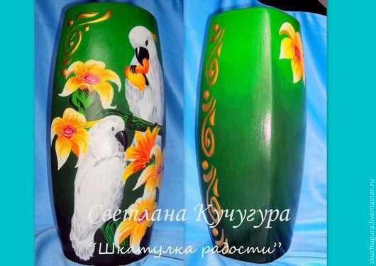 """Вазы ручной работы. Ярмарка Мастеров - ручная работа. Купить Керамическая ваза для сухоцвета """"Белые попугаи"""". Handmade. Керамика, лак"""