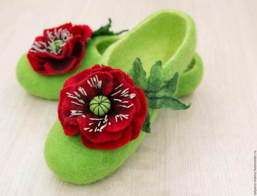 """Обувь ручной работы. Ярмарка Мастеров - ручная работа. Купить Валяные домашние тапочки """"Маки"""". Handmade. Валяные тапочки"""