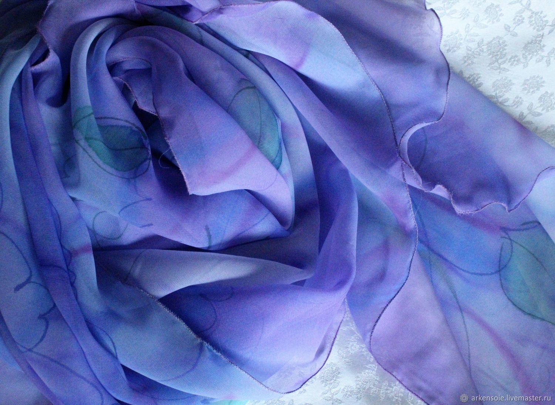Scarves handmade. Livemaster - handmade. Buy Scarf lavender, 170h80 cm, free painting on crepe-chiffon.Felt
