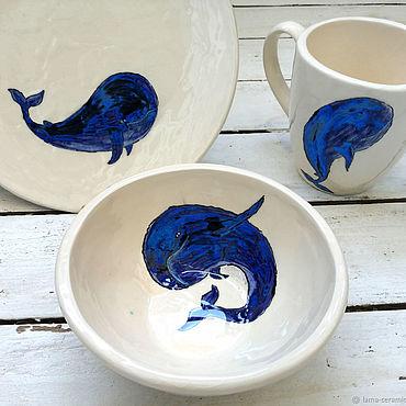 Посуда ручной работы. Ярмарка Мастеров - ручная работа Добрые киты, сервиз, набор посуды из керамики ручной работы. Handmade.