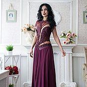 Одежда ручной работы. Ярмарка Мастеров - ручная работа Вечернее платье из натуральной кожи,кружева и шелк. Handmade.