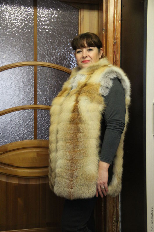 Жилеты ручной работы. Ярмарка Мастеров - ручная работа. Купить Удлиненный жилет из рыжей лисы. Handmade. Коричневый, осень, кожа