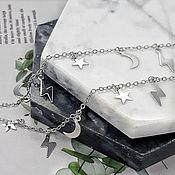 Материалы для творчества handmade. Livemaster - original item 50 cm Chain with pendants rhodium plated (5303-P). Handmade.