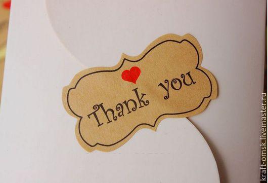 """Упаковка ручной работы. Ярмарка Мастеров - ручная работа. Купить Наклейки """"Thank you"""" 12шт.. Handmade. Крафт, наклейка крафт"""