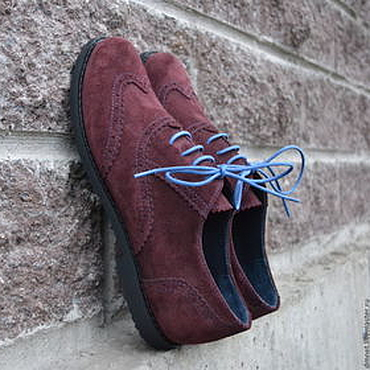 Обувь ручной работы. Ярмарка Мастеров - ручная работа Оксфорд бордовый замшевый с декоративной отстрочкой. Handmade.