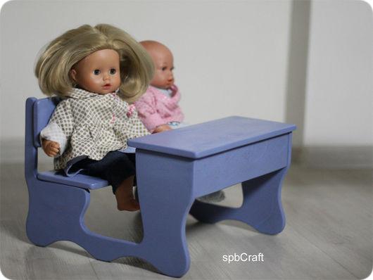 Кукольный дом ручной работы. Ярмарка Мастеров - ручная работа. Купить Парта для кукол. Handmade. Голубой, кукольная, крепёж