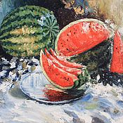 Картины и панно handmade. Livemaster - original item Oil painting still life Watermelon Impressionism Buy painting oil. Handmade.