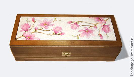 """Кухня ручной работы. Ярмарка Мастеров - ручная работа. Купить Шкатулка """"Магнолия в цвету"""". Handmade. Розовый, цветы, дерево"""