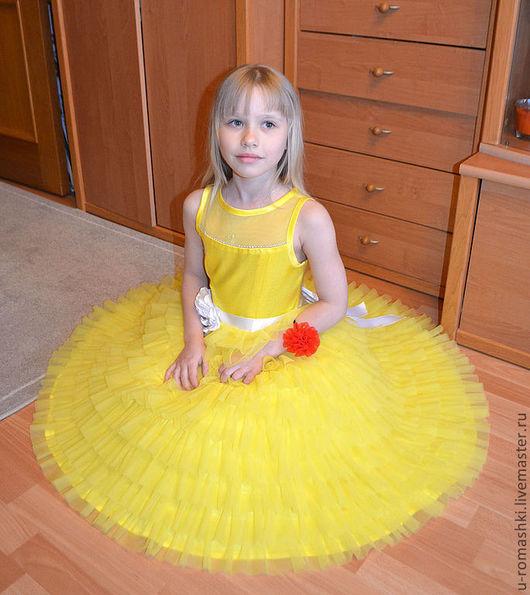 """Одежда для девочек, ручной работы. Ярмарка Мастеров - ручная работа. Купить Праздничное платье """"Полина"""". Handmade. Желтый, подарок для девочки"""