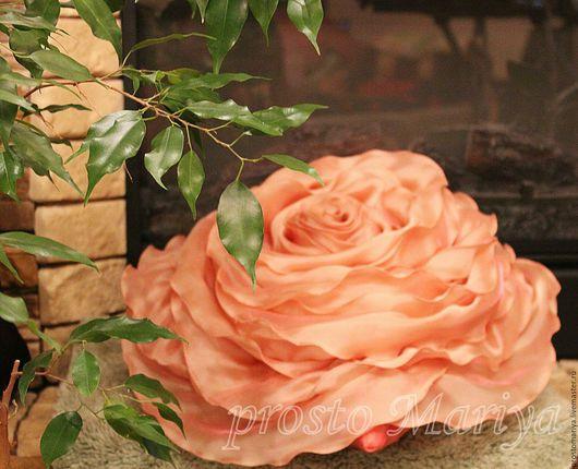 Текстиль, ковры ручной работы. Ярмарка Мастеров - ручная работа. Купить Роза для Ларисы. Handmade. Коралловый, подушка-роза