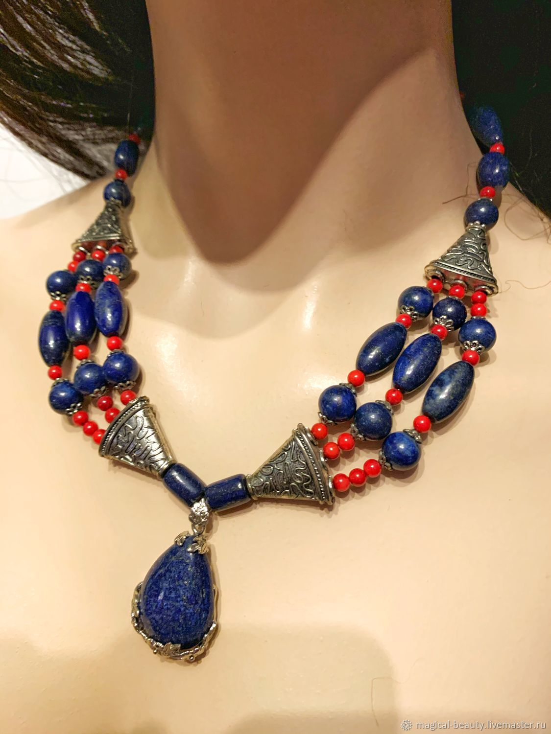 Necklace with coral and lapis 'Venice', Necklace, Moscow,  Фото №1