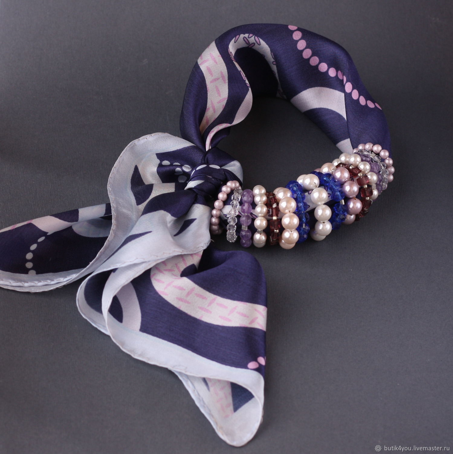 Shawl 'Perl' silk, Mallorca pearls, natural stones, zircons, Necklace, Moscow,  Фото №1